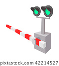 Railroad crossing sign cartoon icon  42214527