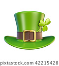 Green St. Patrick's Day hat with clover 3D 42215428