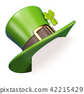 Green St. Patrick's Day hat with clover 3D 42215429
