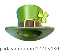 Green St. Patrick's Day hat with clover 3D 42215430