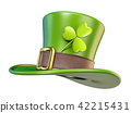 Green St. Patrick's Day hat with clover 3D 42215431