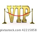 Velvet rope barrier, with golden VIP sign. 3D 42215858