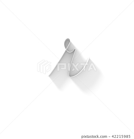 Long shadow handwritten font LETTER R 3D 42215985