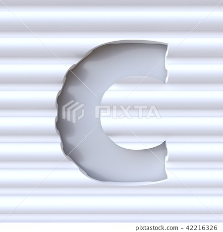 Cut out font in wave surface LETTER C 3D 42216326