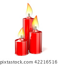 Three red candles. 3D 42216516