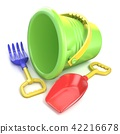 Toy bucket, rake and spade. 3D 42216678