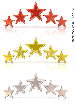 Collection of five red, gold and white stars 42216686