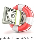 Life buoy with dollars banknote. 3D 42216713