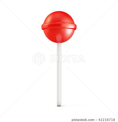 Single red lollipop. 3D 42216718