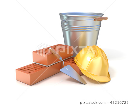 Fragment of wall, trowel, bucket and safety helmet 42216725