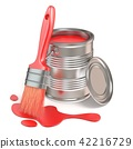 Paint bucket, paintbrush and red stain. 3D 42216729