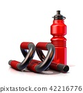 Red plastic sport bottles and push-up bars. 3D 42216776