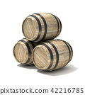 Group of wooden wine barrels. 3D 42216785