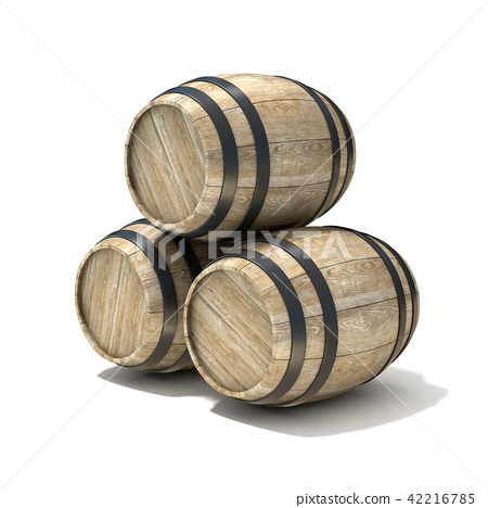 Group of wooden wine barrels. 3D 42216785