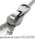 Zipper macro view. 3D 42216792