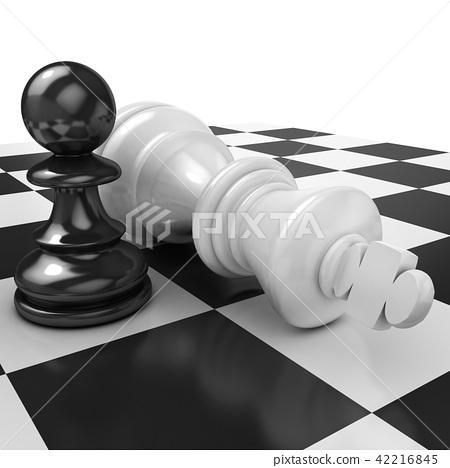 White pawn standing over fallen black king 42216845