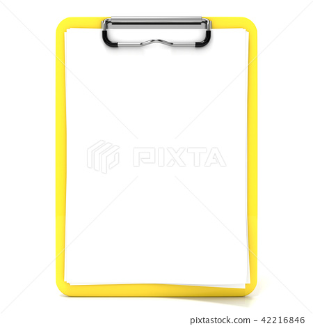 Yellow clipboard and blank paper with lines. 3D 42216846