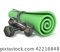 Green fitness mat and black weights. 3D 42216848