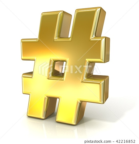 Hashtag, number mark 3D golden sign 42216852
