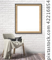 Blank picture frame with white armchair 3D 42216854