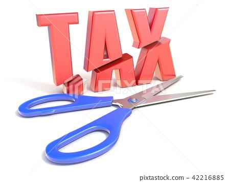 Scissors cut word TAX 3D 42216885
