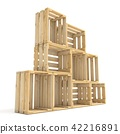 Empty wooden crates arranged Side view 3D 42216891