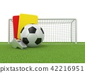 Football concept. Penalty card, metal whistle 42216951