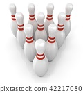 Bowling pins with red stripes, grouped 42217080