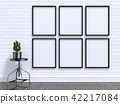 Mock up photo frame with plant, stool 3D 42217084