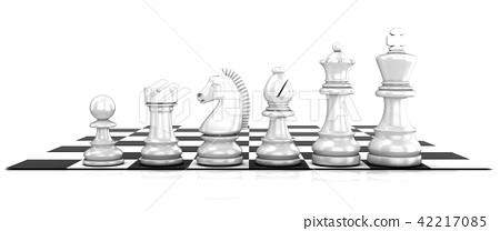 Chess white pieces, standing on board 42217085
