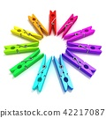 Clothes pins color wheel 42217087