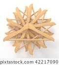 Wooden hangers, star arranged. 3D 42217090