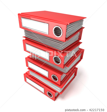 Batch of binders, red office folders. 3D 42217150
