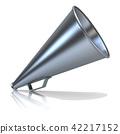 Retro megaphone, isolated on white background 3D 42217152