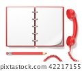 Red vintage telephone, pencil and notebook. 3D 42217155