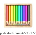 Wooden box with colorful pencils. 3D 42217177