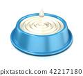 Blue cat bowl with milk, 3D 42217180