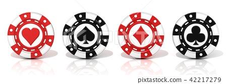 Set of standing gambling poker chips 42217279