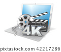 Laptop film reels, movie clapper board and 4K 42217286