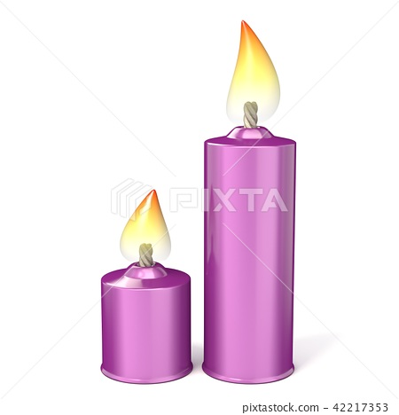 Two purple candles. 3D 42217353