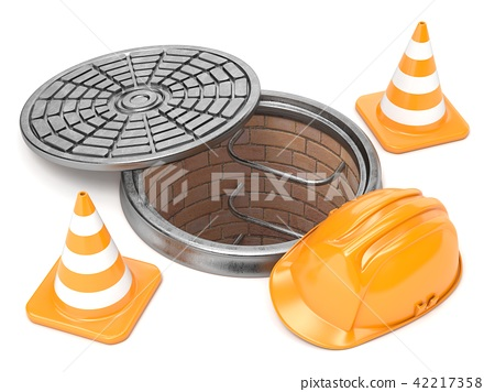 Manhole, traffic cones and safety helmet. 3D 42217358