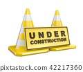 Yellow UNDER CONSTRUCTION sign and two road cones 42217360