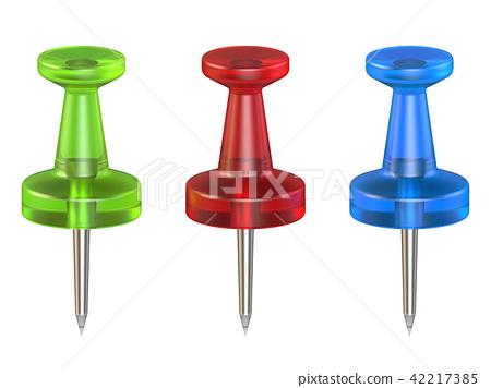 Color push pins. Front view. 3D 42217385