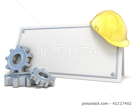 Construction helmet and gear wheels 3D 42217402
