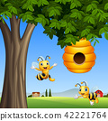 Cartoon bees with honey under a tree 42221764