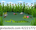 Cartoon alligator and Frogs in the pond 42221772