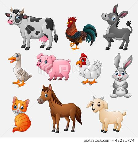 Farm animal collection set on white background 42221774