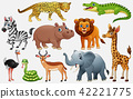 Cartoon wild animals on white background 42221775