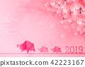 돼지 벚꽃 연하장 배경 42223167