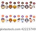 สัตว์ประหลาดฮาโลวีนน่ารัก Happy Halloween Face Line & Flat Set 42223749